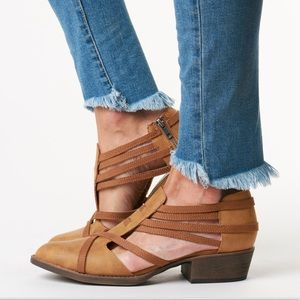 NIB Cognac Distressed Cut Out Loafer Shootie Boot